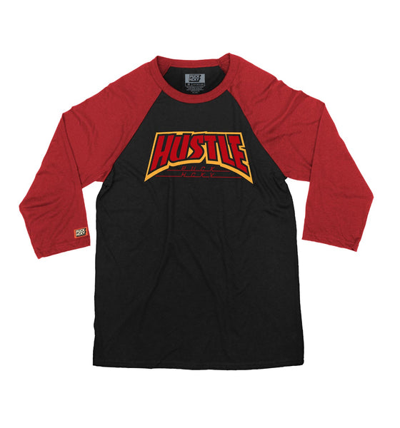 PUCK HCKY 'THRASH HUSTLE' hockey raglan in black with red sleeves