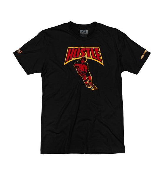 PUCK HCKY 'THRASH HUSTLE SKATE' short sleeve hockey t-shirt in black