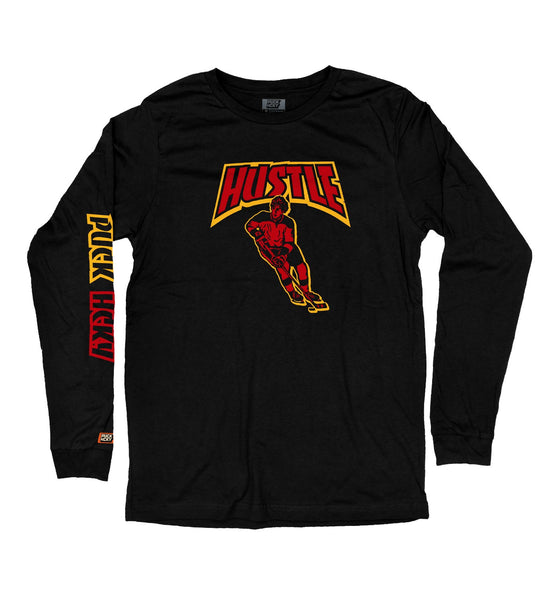 PUCK HCKY 'THRASH HUSTLE SKATE' long sleeve hockey t-shirt in black
