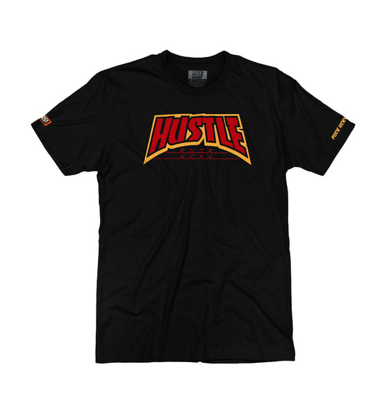 PUCK HCKY 'THRASH HUSTLE' short sleeve hockey t-shirt in black