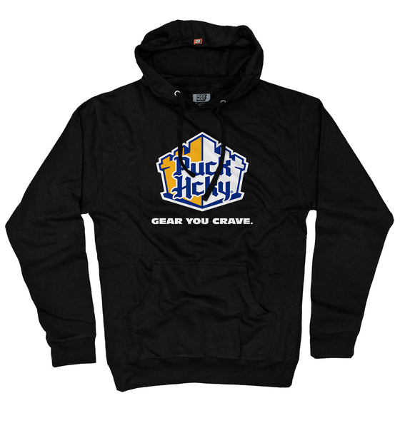 PUCK HCKY 'TWO PAD SLIDER' pullover hockey hoodie in black parody of White Castle
