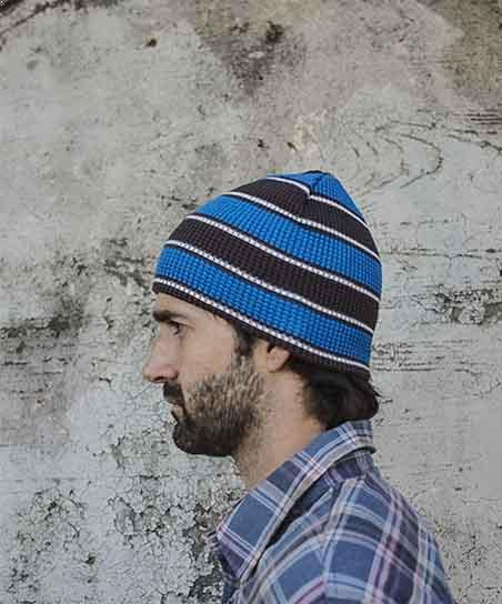 PUCK HCKY 'WAFFLE KNIT' hockey hat in charcoal heather/blue on model