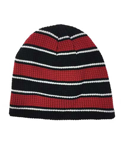 PUCK HCKY 'WAFFLE KNIT' hockey hat in red/black
