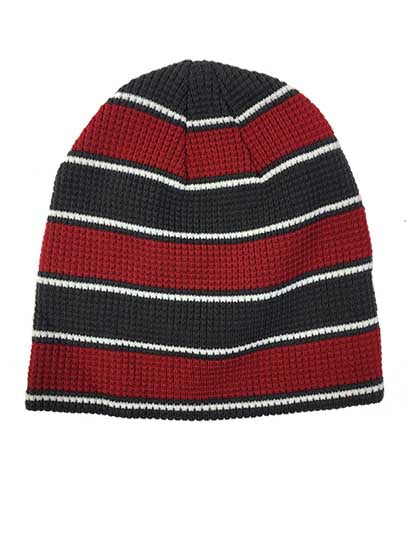 PUCK HCKY 'WAFFLE KNIT' hockey hat in red/charcoal