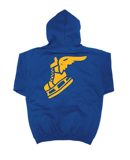 PUCK HCKY 'WINGIN IT' laced pullover hockey hoodie in royal blue with gold and blue with gold stripe laces back view