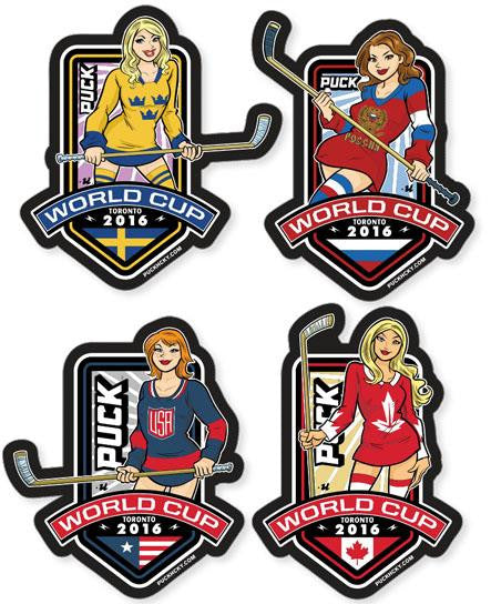 PUCK HCKY 'WORLD CUP COLLECTION' hockey sticker set