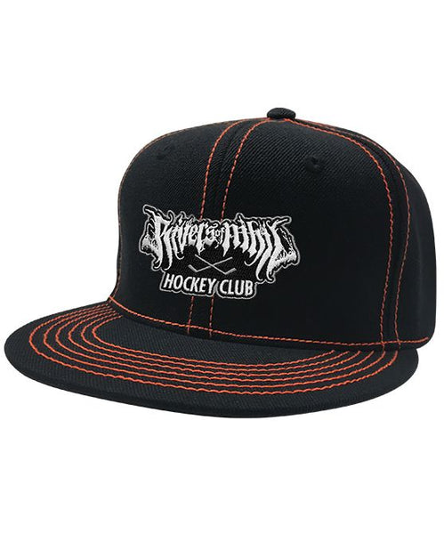 RIVERS OF NIHIL 'HOCKEY CLUB' contrast stitch snapback hockey cap in black with orange stitching