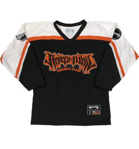 LESS THAN JAKE 'SKA-PUCK BADGE' HOCKEY JERSEY (RED/BLACK/WHITE)