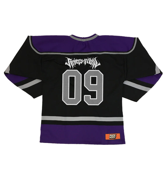 RIVERS OF NIHIL 'HOCKEY CLUB' hockey jersey in black, purple, and grey back view