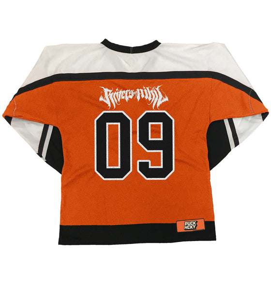 RIVERS OF NIHIL 'HOCKEY CLUB' hockey jersey in orange, white, and black back view