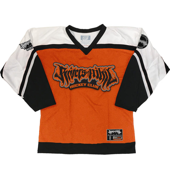RIVERS OF NIHIL 'HOCKEY CLUB' hockey jersey in orange, white, and black front view