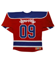 RIVERS OF NIHIL 'LET IT RING' hockey jersey in red, royal and white back view