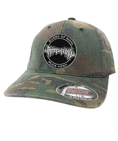RIVERS OF NIHIL 'OFFICIAL PUCK' fitted hockey cap in green camo