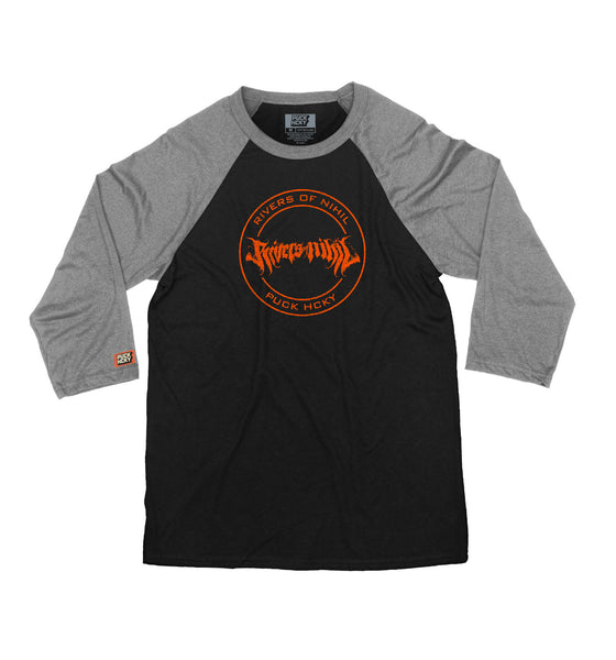 RIVERS OF NIHIL 'OFFICIAL PUCK' hockey raglan in black with deep heather sleeves