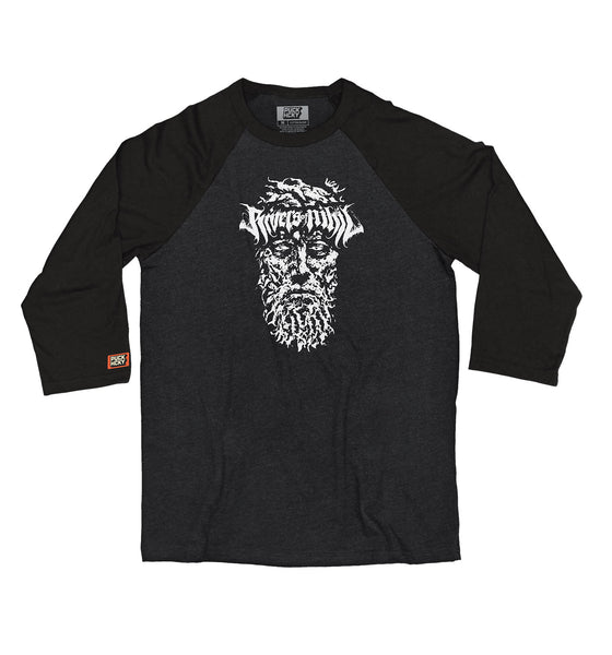 RIVERS OF NIHIL 'PLAYOFF BEARD' hockey raglan in black heather with black sleeves