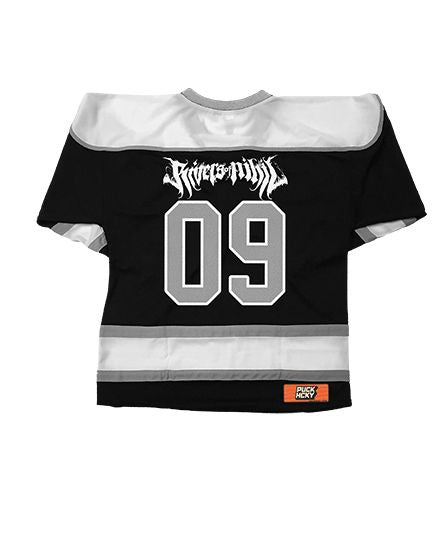 RIVERS OF NIHIL 'PUCK PUCK HIKE' hockey jersey in black, white, and grey back view