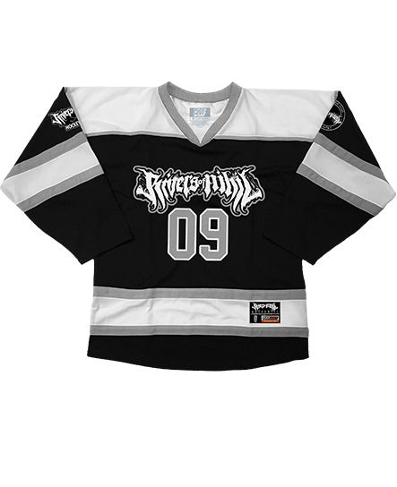 RIVERS OF NIHIL 'PUCK PUCK HIKE' hockey jersey in black, white, and grey front view
