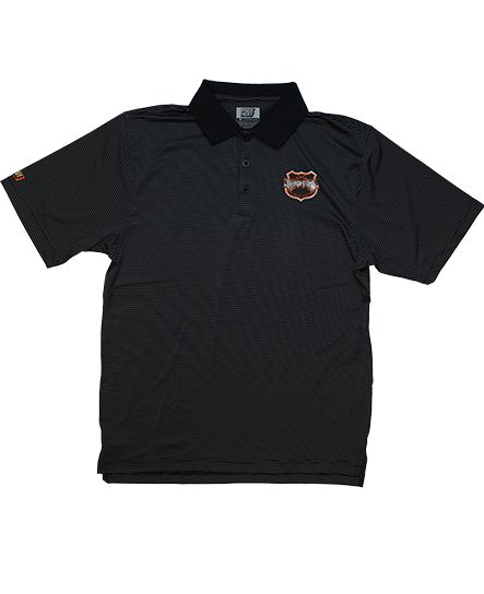 RIVERS OF NIHIL 'RIVERS OF STYLE' hockey performance polo in black and charcoal stripes with black collar