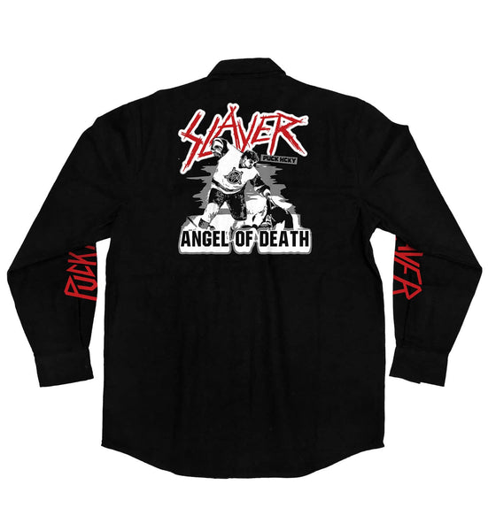 SLAYER 'ANGEL OF DEATH' hockey flannel in solid black back view