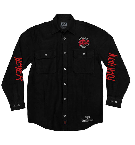 SLAYER 'ANGEL OF DEATH' hockey flannel in solid black front view