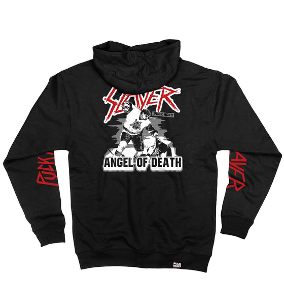 SLAYER 'ANGEL OF DEATH' full zip hockey hoodie in black back view