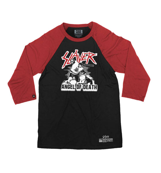 SLAYER 'ANGEL OF DEATH' hockey raglan t-shirt in black with red sleeves