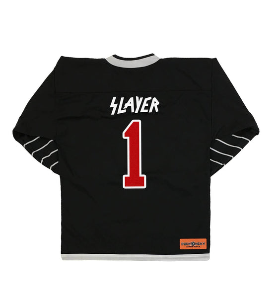 SLAYER 'FIGHT TILL DEATH' deluxe hockey jersey in black and white back view