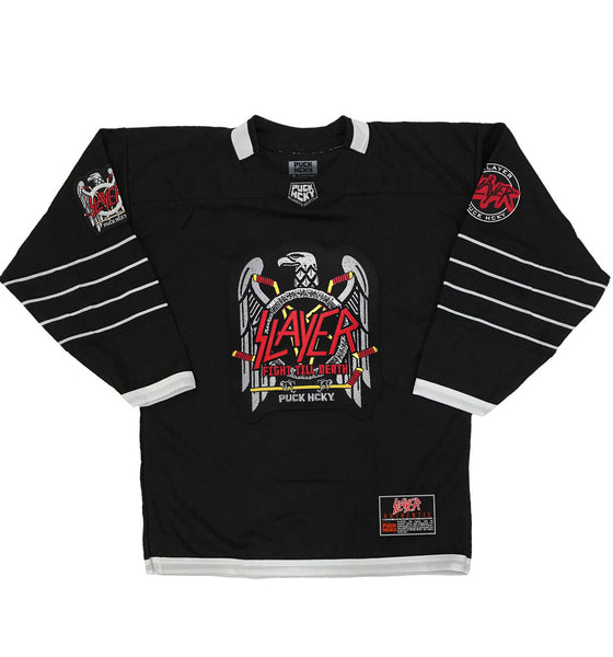 SLAYER 'FIGHT TILL DEATH' deluxe hockey jersey in black and white front view