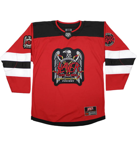 SLAYER 'FIGHT TILL DEATH' deluxe hockey jersey in red, black, and white front view
