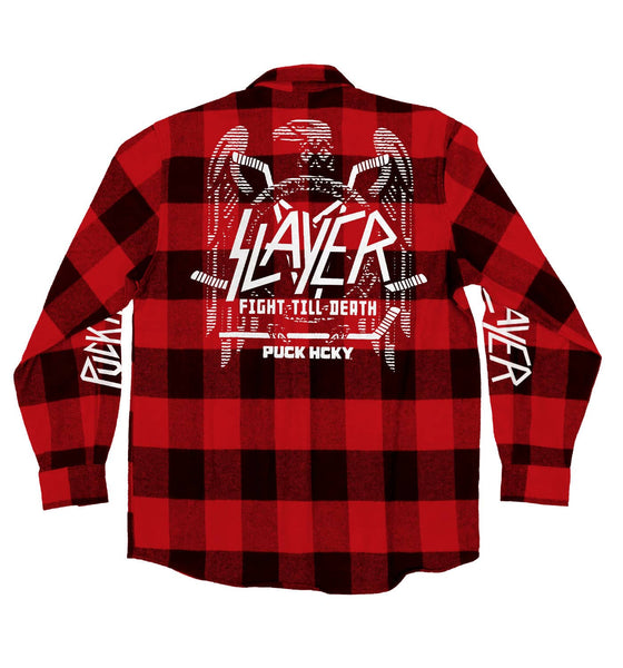 SLAYER 'FIGHT TILL DEATH' hockey flannel in red plaid back view
