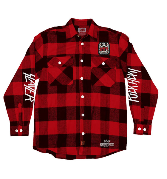 SLAYER 'FIGHT TILL DEATH' hockey flannel in red plaid front view