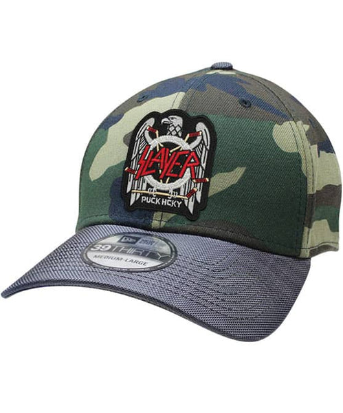 SLAYER 'FIGHT TILL DEATH' stretch fit hockey cap in camo with charcoal brim