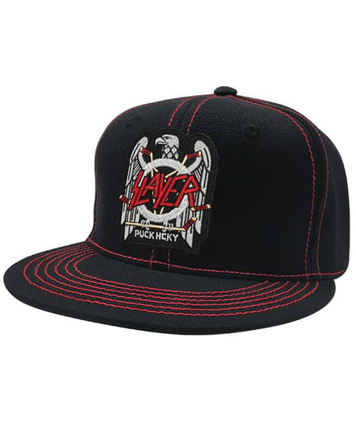 SLAYER 'FIGHT TILL DEATH' contrast stitch snapback hockey cap in black with red stitching