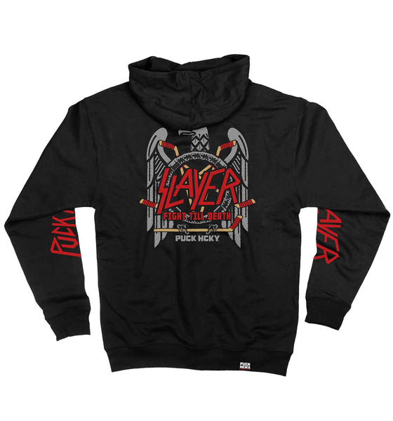 SLAYER 'FIGHT TILL DEATH' full zip hockey hoodie in black back view