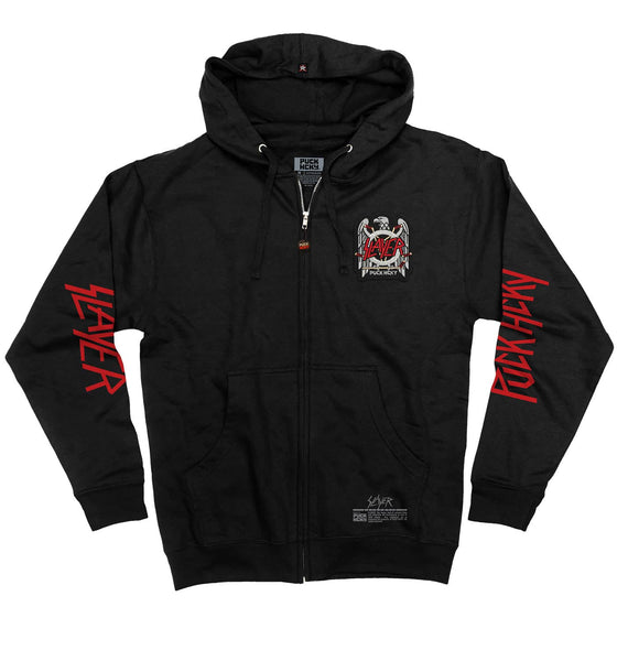 SLAYER 'FIGHT TILL DEATH' full zip hockey hoodie in black front view