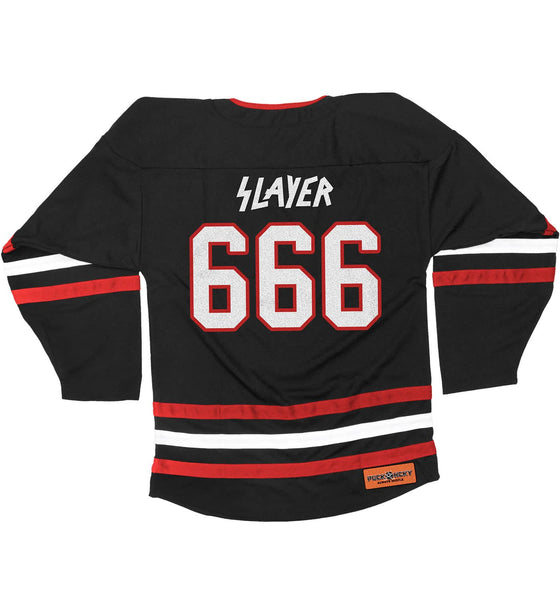 SLAYER 'FIGHT TILL DEATH' hockey jersey in black, red, and white back view
