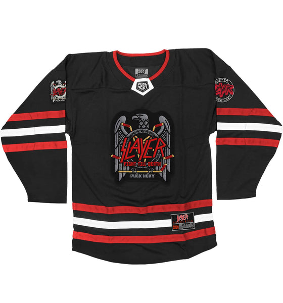 SLAYER 'FIGHT TILL DEATH' hockey jersey in black, red, and white front view