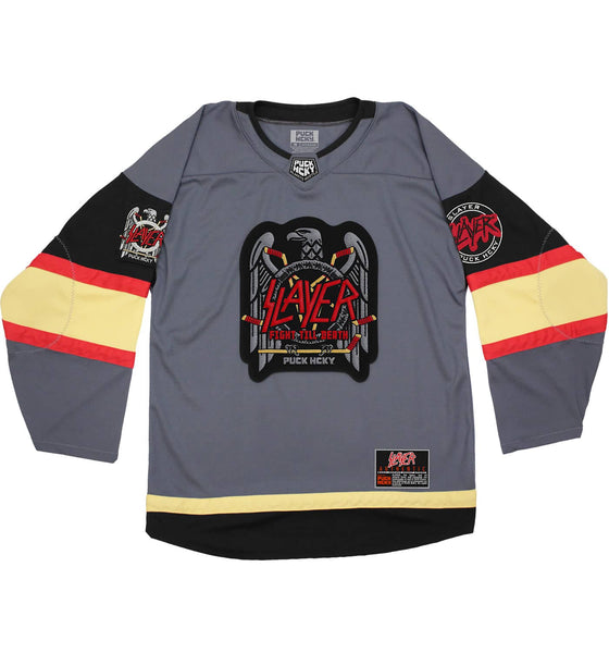SLAYER 'FIGHT TILL DEATH' hockey jersey in charcoal grey, black, gold, and red front view