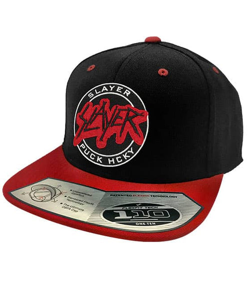 SLAYER 'PUCKIN SLAYER' snapback hockey cap in black with red brim