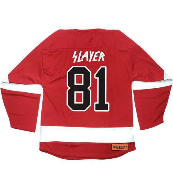 SLAYER 'PUCKIN SLAYER' hockey jersey in red and white back view