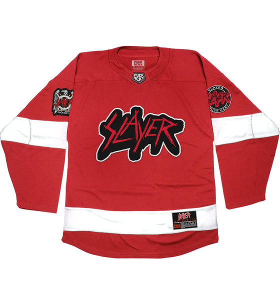 SLAYER 'PUCKIN SLAYER' hockey jersey in red and white front view