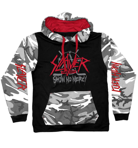 SLAYER 'SHOW NO MERCY' pullover hockey hoodie in black, camo, and red
