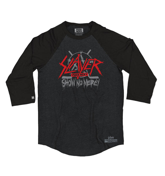 SLAYER 'SHOW NO MERCY' hockey raglan in black heather with black sleeves