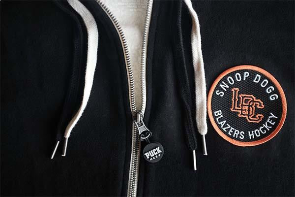 SNOOP DOGG 'ALL HOOD' Sherpa-lined zip hockey hoodie in black with 2-color laces close-up