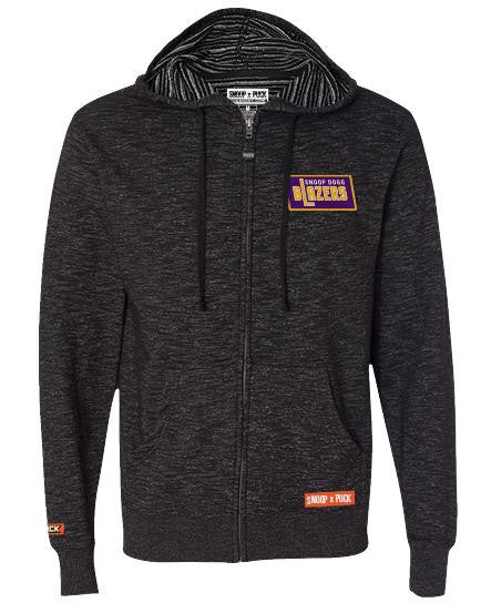 SNOOP DOGG 'BLAZERS' zip hockey hoodie in baja black with purple patch