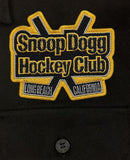 SNOOP DOGG 'GREATER ONE' hockey flannel in solid black patch close-up