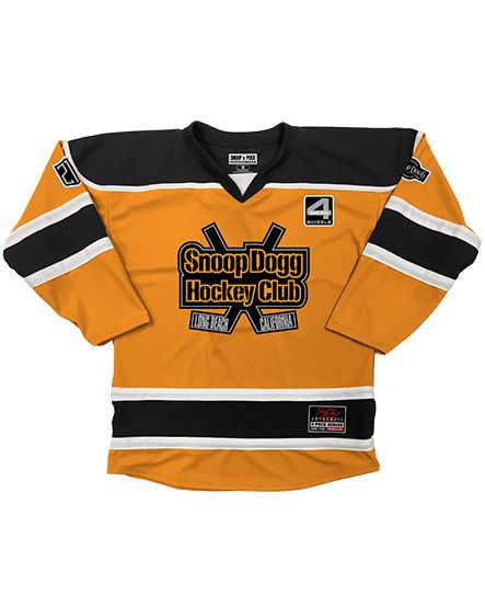 SNOOP DOGG 'GREATER ONE' hockey jersey in gold, black, and white front view