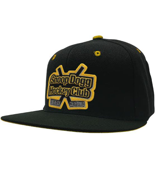 SNOOP DOGG 'GREATER ONE' snapback hockey cap in black with gold accents