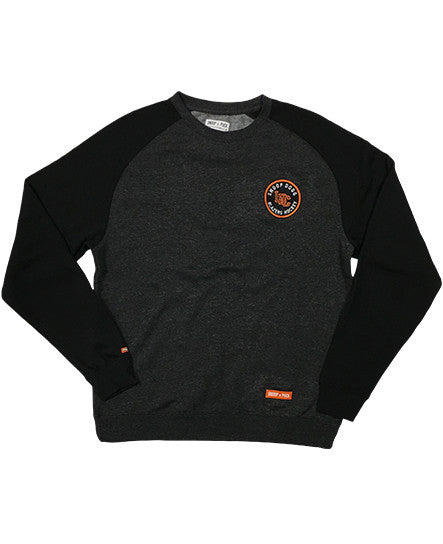 SNOOP DOGG 'LBC HOCKEY CLUB' raglan-style crewneck hockey sweatshirt in charcoal heather and black