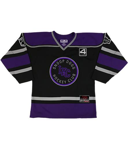 SNOOP DOGG 'LBC HOCKEY CLUB' hockey jersey in black, purple, and grey front view